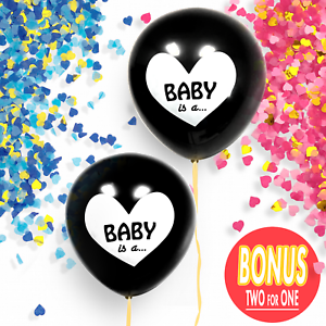 """Gender Reveal Black 36/"""" Balloon Baby Girl Pink Or Baby Boy Blue With Confetti"""