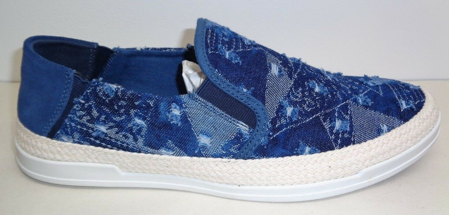 Steve Madden Size 11 M SEWARD Denim Fabric Suede Slip On Loafers New Mens Shoes