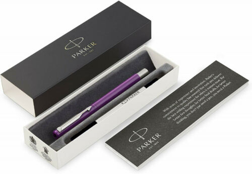 schwarze Schrift Parker Tintenroller Vector Rollerball Farbe Purple mit Chrom