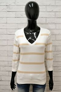 Maglione-TOMMY-HILFIGER-Donna-Taglia-M-Cardigan-Pullover-Sweater-Cotone-a-Righe