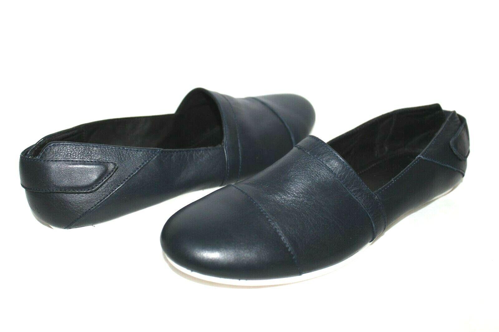 ❤️Penner Chaussures Marine Cuir Premium Confort Plats 6 6.5 36 Excellent ! LOOK