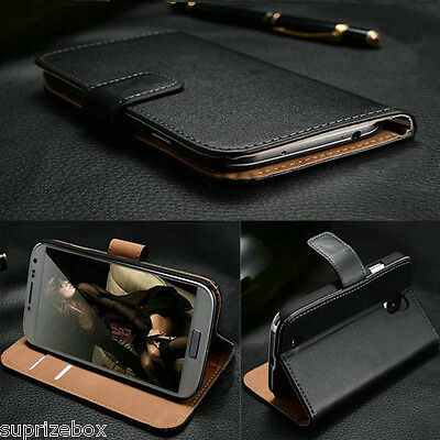 Vintage Real Genuine Leather Wallet Flip Stand Case Cover for HTC ONE X