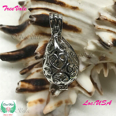 Tear Drop Silver Plated Fun Gift!! Pearl Cage Pendant