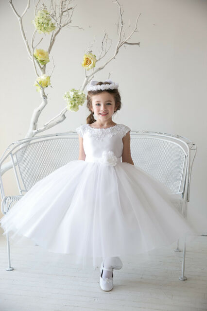 Gorgeous White Ivory Pink Blue communion wedding party pageant flower girl dress