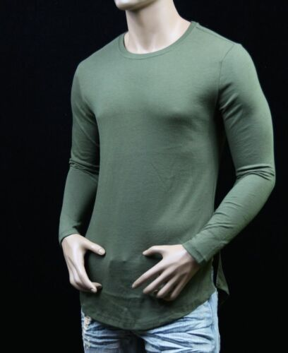 Long Extended Casual Tee Hip Hop Fashion Crew Neck Hipster Long Sleeve T-Shirts
