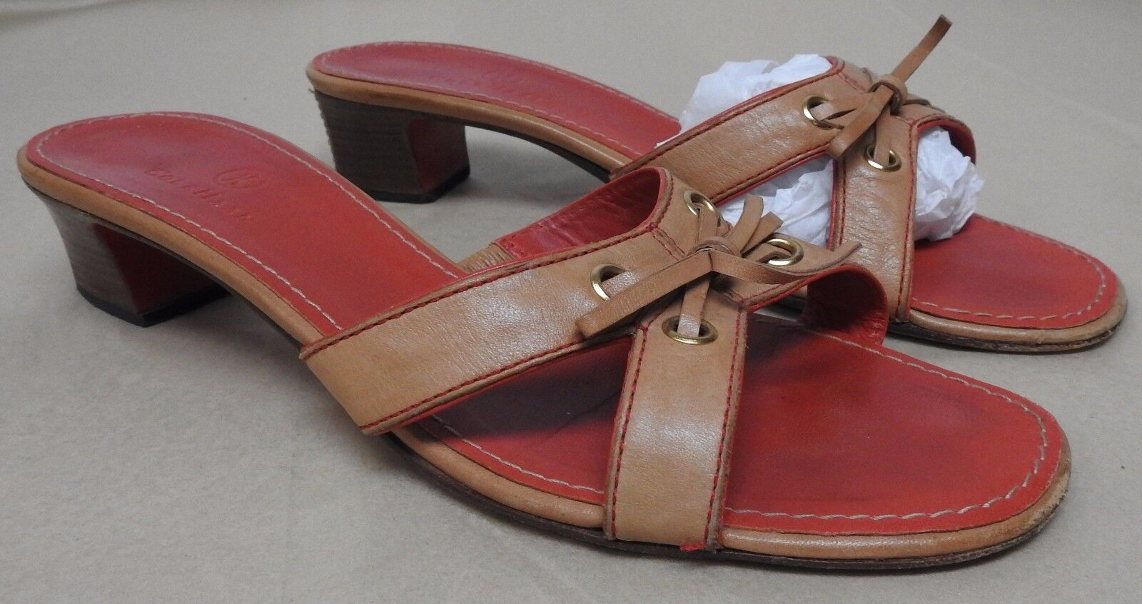 Cole Haan women's size sandals 8.5 B tan leather sandals size slides med heel bow 747b08