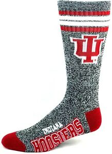 Indiana-Hoosiers-NCAA-Four-Stripe-Quarter-Socks-Heather-Gray-Red