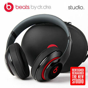 Beats by Dr. Dre Studio 2.0 WIRED microphone Headphones Black   Red ... d0bef92cbd