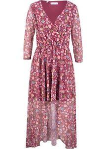 kleid in wickeloptik gr. 48/50 rhododendronrot bedruckt
