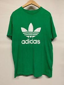 Adidas-Originals-Para-Hombre-Verde-Camiseta-De-Cuello-Redondo-Grande-L-Trebol-Grafico