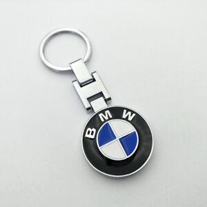 Metal-Car-2-side-Logo-keyring-keychain-Silver-ring-pendant-Key-Holder-for-BMW