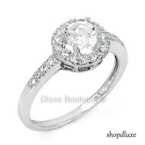 1.25 Ct Halo Round Cut CZ Sterling Silver Engagement Wedding Ring Women's Sz 5-9
