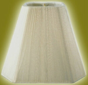 White Silk String Wrapped Lampshade Rectangular Cut-Corner Lamp ...