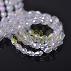 New-100pcs-5X3mm-Teardrop-Crystal-Glass-Faceted-Spacer-Loose-Beads-Clear-AB