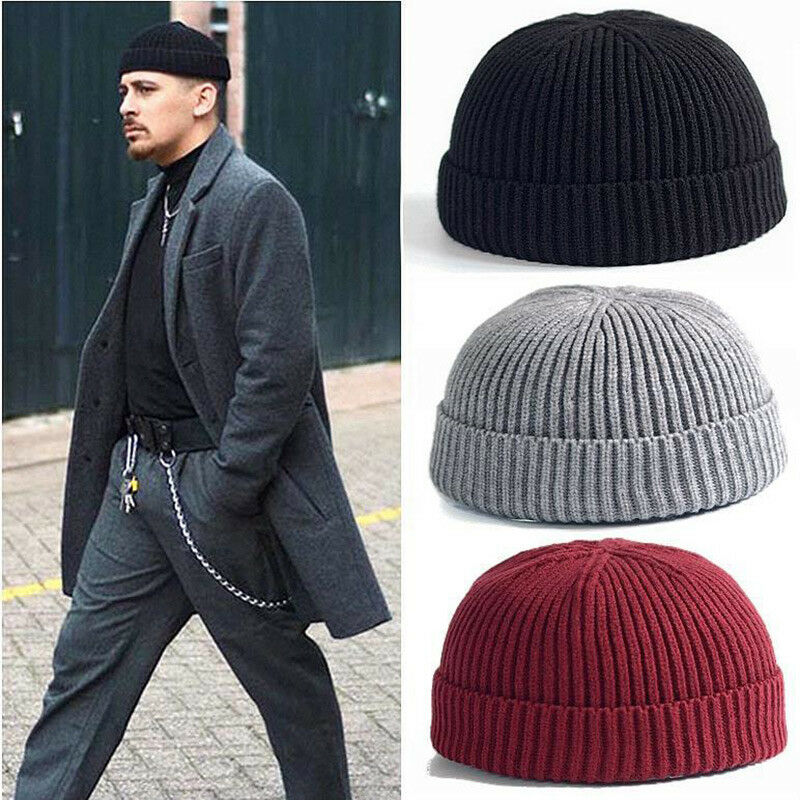 Men Retro Fisherman Beanie Mini Hat Winter Warm Knitted Ribbed Docker Skull Cap Clothing, Shoes & Accessories
