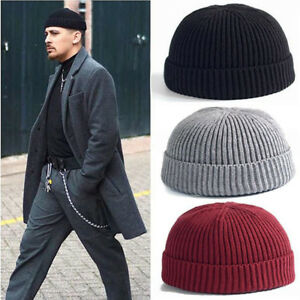Men Knitted Hat Skullcap Sailor Cap Cuff Brimless Retro Navy Style ... b9e1229391e