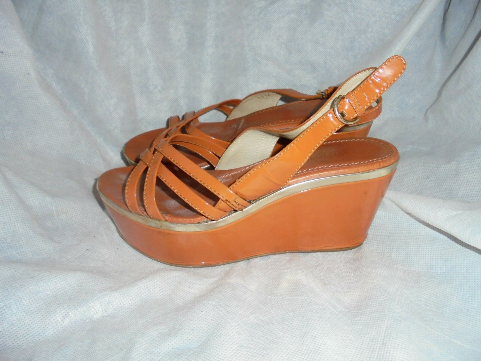 SERGIO ROSSI WOMEN ORANGE LEATHER BUCKLE STRAP WEDGES ANDAL SIZE UK 6 EU 39  VGC