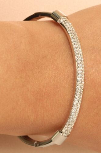 """18k Or Blanc Finition Diamant Bangle Bracelet 5 ct Cadeau De Mariage 7.25/"""""""
