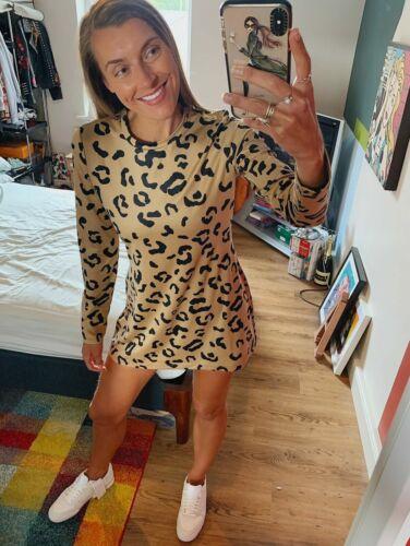 Reebok Leopard Jumper Dress Shirt Tee Retro Top Black Gold Silky Skirt Trainers