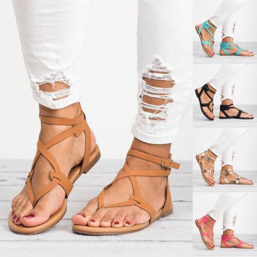 Femmes T Strap String Sandales Gladiator Tongs Bride Cheville Plat Romain Chaussures