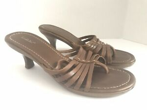 WOMENS-BROWN-OPEN-TOE-SANDALS-SLINGBACK-HEELS-SHOES-SIZE-8-5-M