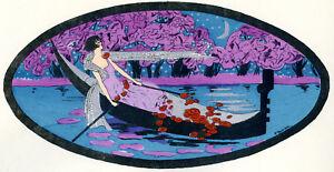 1930s-French-Pochoir-Print-Bouvier-Italian-Girl-Gondola-Red-Roses-Pink-Dress