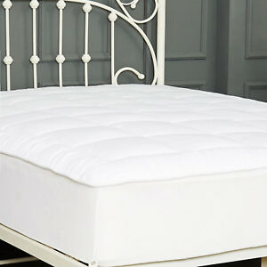 Quilted Mattress Pad Hypoallergenic Goose Down Alternative Topper Deep Pocket