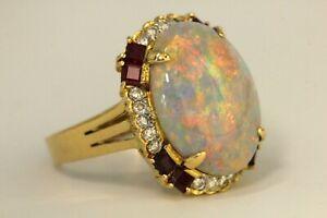 Opal Diamant Rubin Gold Ring 750 Vollopal ca. 6 ct. & 20 Brillanten ca. 0,40 ct.