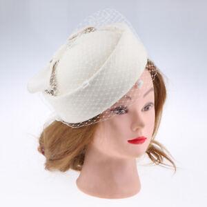 Womens Vintage Fascinator Wool Rose Veil-Cocktail Party Wedding Pillbox Hat