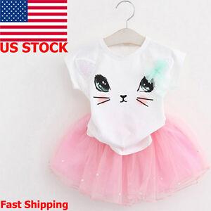 4292cb0a4013 Kids Toddler Baby Girl Outfits T-Shirt Tops Tutu Skirt Dress Clothes ...