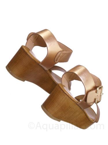 Cobble1 Wooden Flatform Platform Sandal Flat Lightweight Open Toe Comfort Shoe