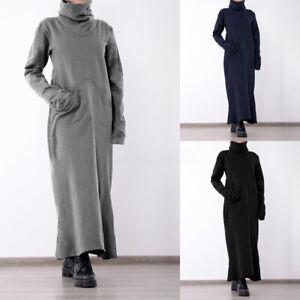 Mode-Femme-Long-Robe-Trapeze-Chaud-Pull-a-Col-Montant-Manche-Longue-Dresse-Plus