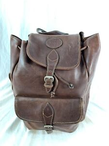 G H BASS   Co Vintage Authentic Brown Leather Drawstring Backpack ... 54e8084ccd