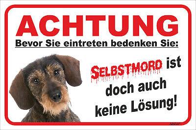 Haustierbedarf Dackel Rauhaar Schild Vorsicht Selbstmord 15x20-40x60cm Teckel Hund Dachshund Waren Des TäGlichen Bedarfs