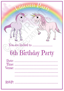 UNICORN 3RD BIRTHDAY PARTY INVITATIONS Cards Girls Age 3 Kids Invites Envelopes
