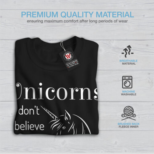 Unicorn Pullover Jumper Mens Sweatshirt Believe Black Casual Wellcoda Funny Rzvqdwq
