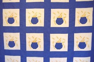 ANTIQUE-GOLD-WHEAT-IN-POTTERY-QUILT-UNUSED-1930-40S