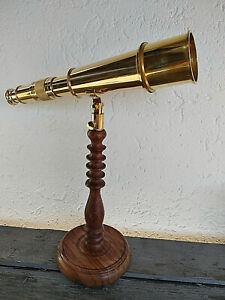 Telescope-longue-vue-en-laiton-sur-pied-bois-Darwin-longueur-32cm-neuf