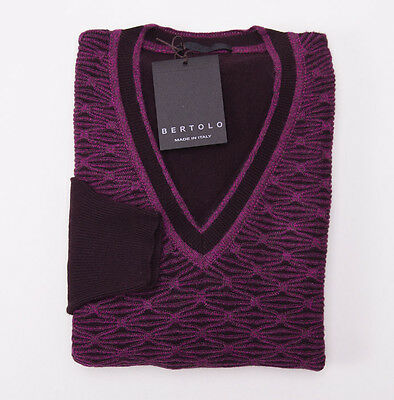 NWT $875 BERTOLO Violet-Chocolate Brown Pattern 100% Cashmere Sweater L/50 Italy