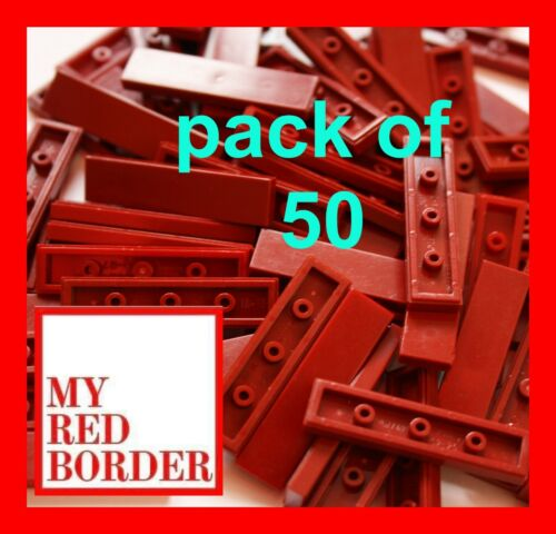 LEGO 1X4 TILES DARK RED 2431 PACK OF 50 PARTS FLAT PLATES CITY