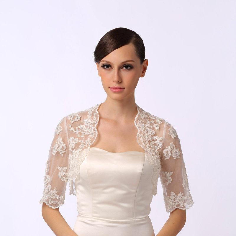 White Ivory Lace Satin Shawl Bolero Wedding Jacket Bridal