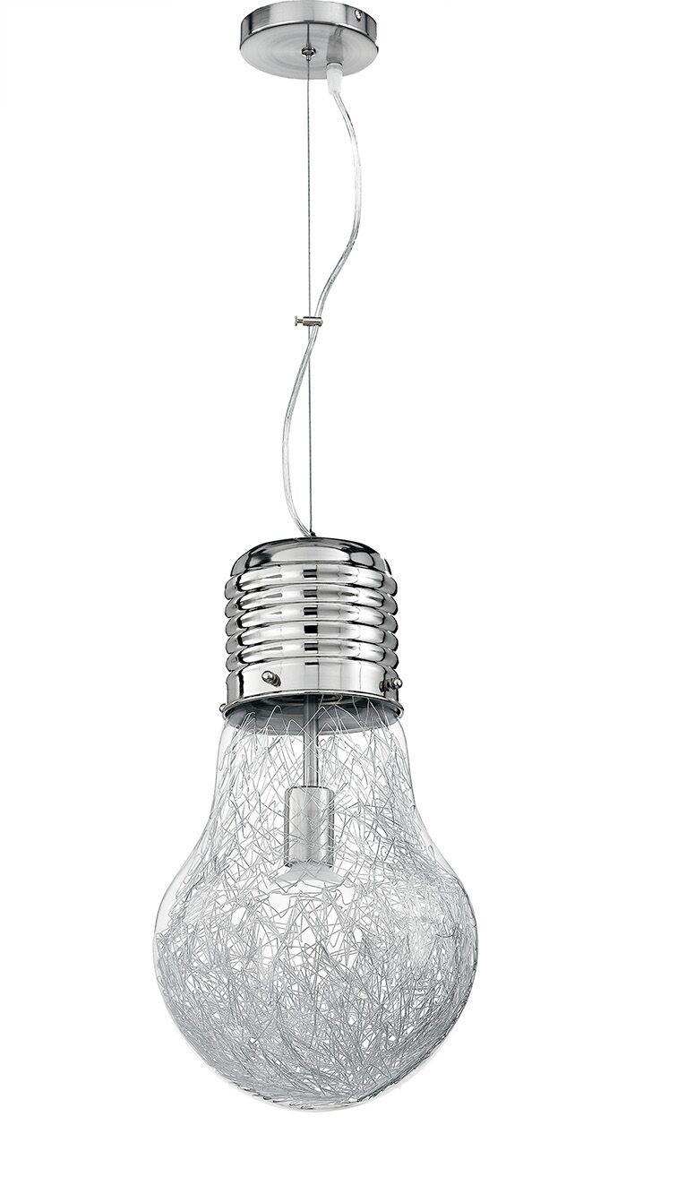 I-LAMPD SOSP15 SOSPENSIONE PICCOLO IN VETRO E INTERNO IN ALLUMINIO CROMO 1 LUCE