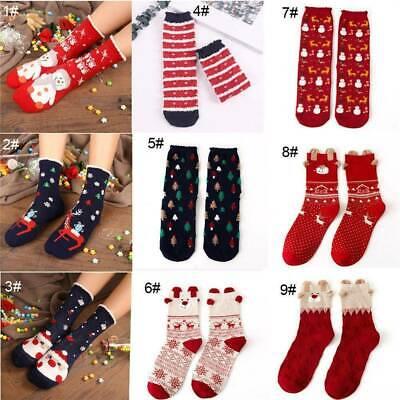 Unisex Winter Christmas Xmas Warm Wool Socks Novelty Cute Snowflake Deer Santa