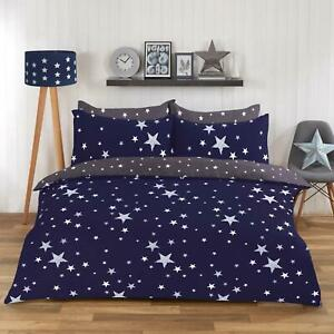 Dreamscene Stars Galaxy Duvet Cover with Pillowcase Reversible Bedding Set Navy