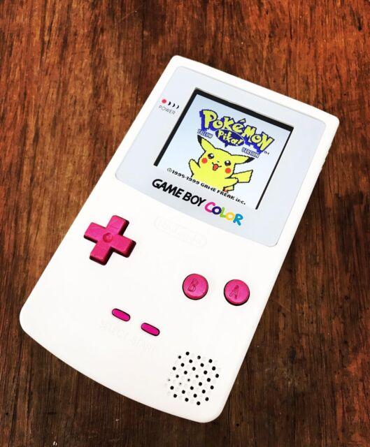 Nintendo GameBoy Color Colour Game Boy Hand Pink White BACKLIT IPSGaming Console