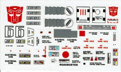 G1 AUTOBOT ROADBUSTER REPRO LABELS TRANSFORMERS GENERATION 1