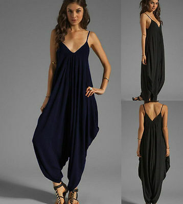 V-neck All In One Summer Beach Harem Jumpsuit Romper Playsuit Pants Plus Size H