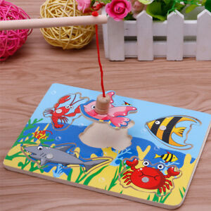 Fishing-Game-amp-Wooden-Ocean-Jigsaw-Puzzle-Board-Magnetic-Rod-Toy-Gifts-A