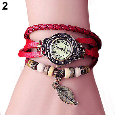 B22U Retro Womens Leaf Bead Leather Band Carve Dial Quartz Bracelet Wrist Watch