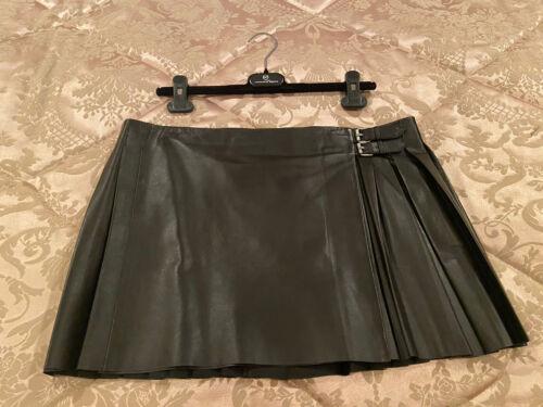 Mcq Alexander Mcqueen Black Leather Pleated Mini S